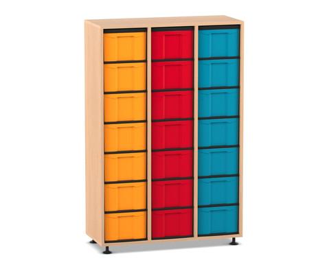 Flexeo Regal 3 Reihen 21 grosse Boxen