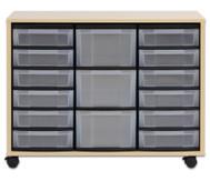 Flexeo Regal mit 12 kleinen und 3 großen Boxen