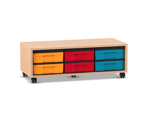 Flexeo Regal mit 6 kleinen Boxen HxBxT 332 x 948 x 408 cm
