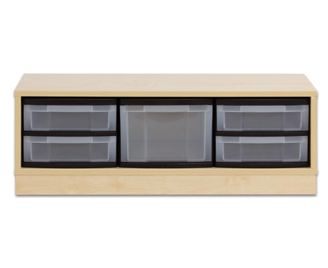 Flexeo Regal mit 3 Reihen 1 grosser Box und 4 kleinen Boxen
