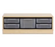 Flexeo Regal mit 3 Reihen, 1 großer Box und 4 kleinen Boxen