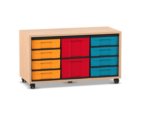 Flexeo Regal mit 3 Reihen 2 Boxen Gr M und 8 Boxen Gr S