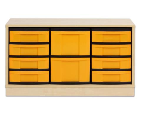 Flexeo Regal mit 3 Reihen 2 grossen und 8 kleinen Boxen