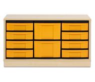Flexeo Regal mit 3 Reihen, 2 großen und 8 kleinen Boxen