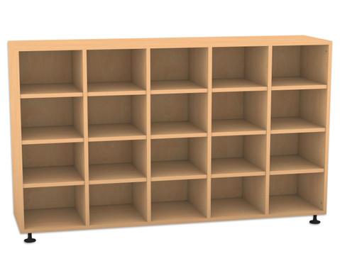 Flexeo Regal 5 Reihen 20 Faecher HxBxT 98 x 1628 x 408 cm