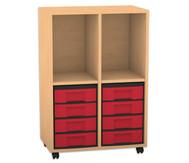 Flexeo Regal, 2 Reihen, 2 Fächer, 8 kleine Boxen HxBxT: 98 x 66,5 x 40,8 cm