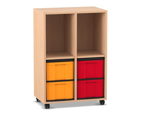 Flexeo Regal mit 2 Reihen 2 Faechern und 4 grossen Boxen unten