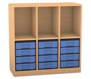 Flexeo Regal mit 3 Reihen, 3 Fächern und 12 kleinen Boxen unten
