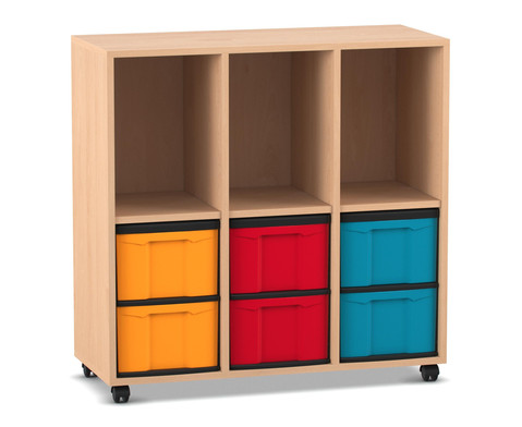 Flexeo Regal mit 3 Reihen 3 Faechern und 6 grossen Boxen unten