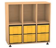 Flexeo Regal mit 3 Reihen, 3 Fächern und 6 großen Boxen unten