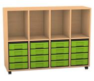 Flexeo Regal, 4 Reihen, 4 Fächer, 16 kleine Boxen HxBxT: 98 x 130,7 x 40,8 cm