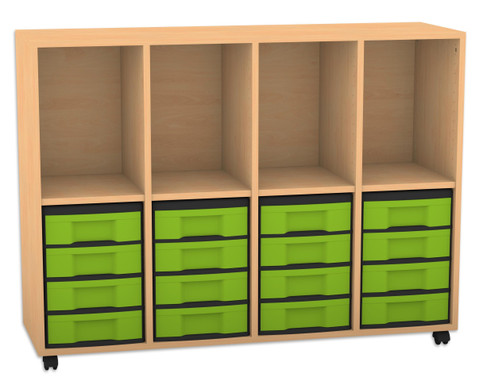 Flexeo Regal mit 4 Reihen 4 Faechern und 16 kleinen Boxen unten