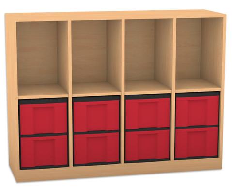 Flexeo Regal mit 4 Reihen 4 Faechern und 8 grossen Boxen unten