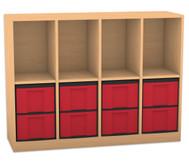 Flexeo Regal mit 4 Reihen, 4 Fächern und 8 großen Boxen unten