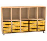 Flexeo Regal, 5 Reihen, 5 Fächer, 20 kleine Boxen HxBxT: 98 x 162,8 x 40,8 cm