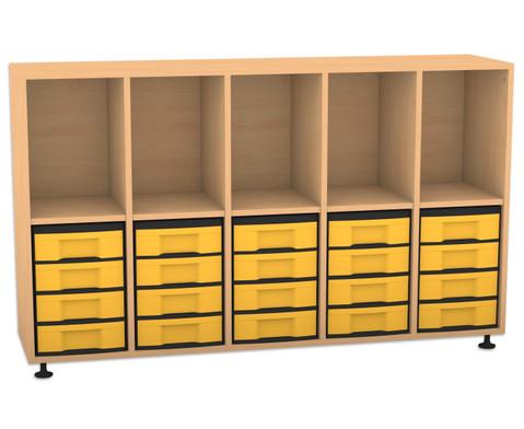 Flexeo Regal mit 5 Reihen 5 Faechern und 20 kleinen Boxen unten
