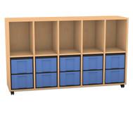 Flexeo Regal, 5 Reihen, 5 Fächer, 10 große Boxen HxBxT: 98 x 162,8 x 40,8 cm