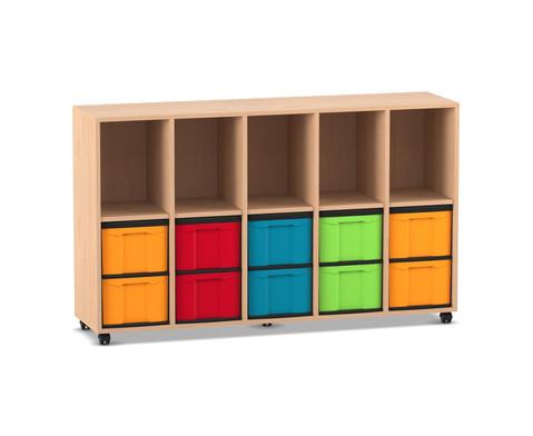 Flexeo Regal mit 5 Reihen 5 Faechern und 10 grossen Boxen unten