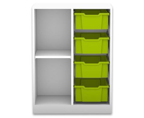 Flexeo Regal PRO mit 2 Reihen 2 Faechern und 4 grossen Boxen