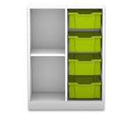 Flexeo Regal PRO mit 2 Reihen, 2 Fächern und 4 großen Boxen