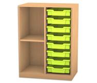 Flexeo Regal PRO mit 2 Reihen, 2 Fächern und 8 kleinen Boxen