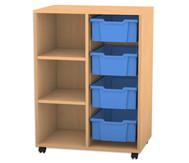 Flexeo Regal PRO mit 2 Reihen, 3 Fächern und 4 großen Boxen