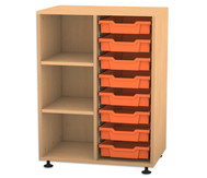 Flexeo Regal PRO mit 2 Reihen, 3 Fächern und 8 kleinen Boxen