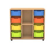 Flexeo Regal PRO, 3 Reihen, 8 große Boxen, 1 Fachboden, HxBxT: 99,1 x 108,5 x 48 cm