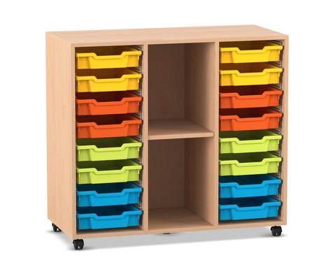 Flexeo Regal PRO mit 3 Reihen 2 Faechern und 16 kleinen Boxen
