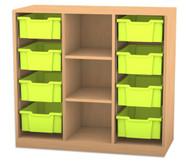 Flexeo Regal PRO mit 3 Reihen, 3 Fächern und 8 großen Boxen