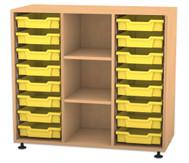 Flexeo Regal PRO, 3 Reihen, 16 kleine Boxen, 2 Fachböden, HxBxT: 99,1 x 108,5 x 48 cm