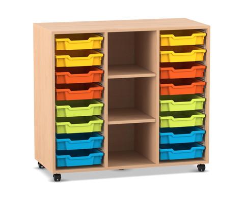 Flexeo Regal PRO mit 3 Reihen 3 Faechern und 16 kleinen Boxen