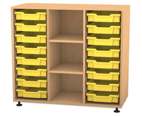 Flexeo Regal PRO mit 3 Reihen 3 Faechern und 16 kleinen Boxen-1