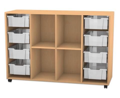 Flexeo Regal PRO mit 4 Reihen 4 Faechern und 8 grossen Boxen