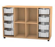 Flexeo Regal PRO mit 4 Reihen, 4 Fächern und 8 großen Boxen