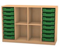 Flexeo Regal PRO, 4 Reihen, 16 kleine Boxen, 2 Fachböden, HxBxT: 99,1 x 143,9 x 48 cm