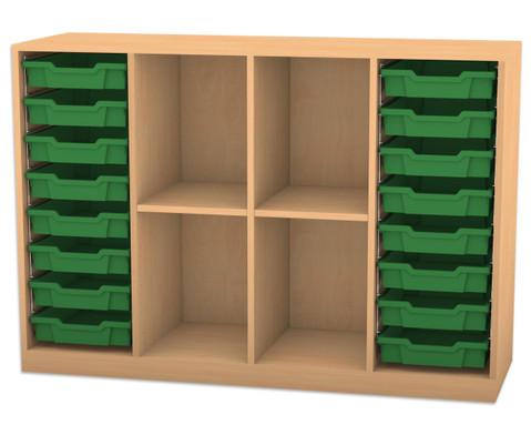 Flexeo Regal PRO mit 4 Reihen 4 Faechern und 16 kleinen Boxen