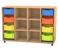 Flexeo Regal PRO mit 4 Reihen, 6 Fächern und 8 großen Boxen