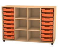 Flexeo Regal PRO, 4 Reihen, 16 kleine Boxen, 4 Fachböden, HxBxT: 99,1 x 143,9 x 48 cm