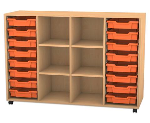Flexeo Regal PRO mit 4 Reihen 6 Faechern und 16 kleinen Boxen