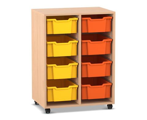 Flexeo Regal PRO mit 2 Reihen und 8 grossen Boxen