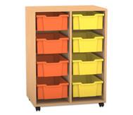 Flexeo Regal PRO mit 2 Reihen und 8 großen Boxen