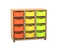 Flexeo Regal PRO, 3 Reihen, 12 große Boxen, HxBxT: 99,1 x 108,5 x 48 cm