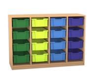 Flexeo Regal PRO, 4 Reihen, 16 große Boxen, HxBxT: 99,1 x 143,9 x 48 cm