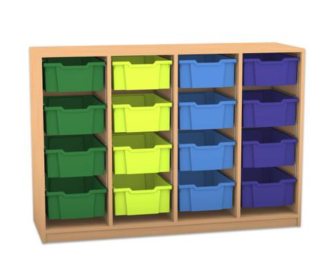 Flexeo Regal PRO mit 4 Reihen und 16 grossen Boxen-1