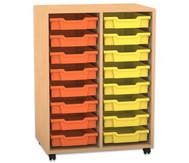 Flexeo Regal PRO mit 2 Reihen und 16 kleinen Boxen