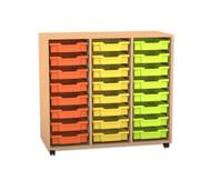 Flexeo Regal PRO, 3 Reihen, 24 kleine Boxen, HxBxT: 99,1 x 108,5 x 48 cm