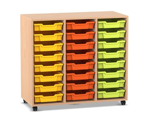 Flexeo Regal PRO mit 3 Reihen und 24 kleinen Boxen