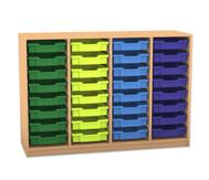 Flexeo Regal PRO, 4 Reihen, 32 kleine Boxen, HxBxT: 99,1 x 143,9 x 48 cm