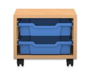 Flexeo Regal PRO mit 1 Reihe und 2 kleinen Boxen